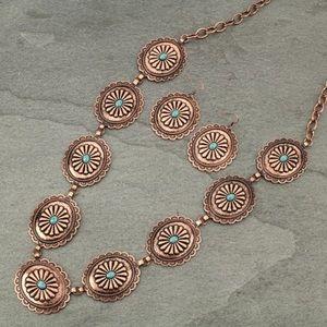 Western Linked Conchos Necklace & Earrings Set